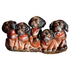 Antique Cast Spelter Dog Paperweight Circa 1900