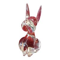 Vintage Clear Crystal Glass Dog Paperweight Mid-Century