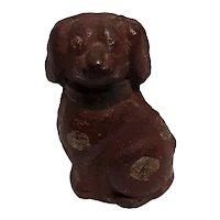 Vintage Hand Painted Chalkware Miniature Dog Figurine Circa 1920's