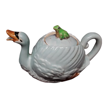 Vintage Large Ceramic Swan Tea Pot  Hand Painted with Frog Circa 1920's