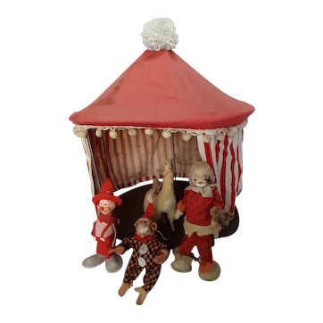 Vintage Mid-century Red and White Big Top Circus Tent Clowns Llama Monkey