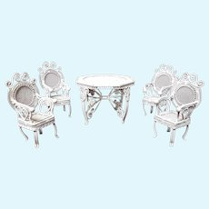 Vintage Wire Fancy Wicker Miniature Table and Four Chairs
