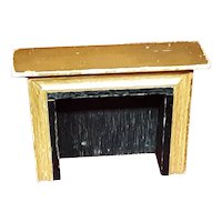 Vintage Wooden Miniature Dollhouse Fireplace