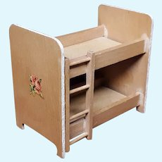 Vintage Mid-century Miniature Wooden Dollhouse Bunk Beds