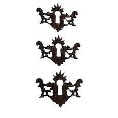 Ornate Brass Escutcheons Set of Three Circa 1880's