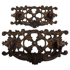 Pair of Ornate Victorian Cast Brass Drawer Pulls Circa 1880's