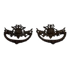 Pair of Ornate Cast Brass Drawer Pulls Circa 1890's