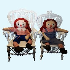 """Rare Vintage Very Large  40""""  Tall Raggedy Ann and Andy Dolls"""
