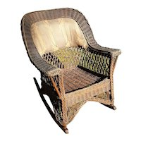 Antique Wicker Rocking Chair Natural Rocker  Circa 1910