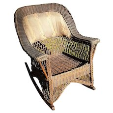 Antique Wicker Rocking Chair Natural Rocker  Circa 1910