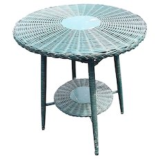 Vintage Round Wicker Table Circa 1920's