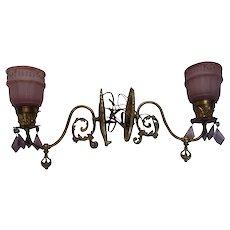 Vintage Cast Bronze Sconces Lamps Glass Shades Circa 1920's