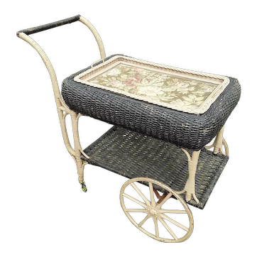 Vintage Wicker Tea Cart Circa 1920's Heywood Brothers and Wakefield Company
