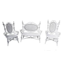 Antique Wicker Set Circa 1880's Rare Heywood Brothers and Company Loveseat Chairs
