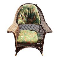 Vintage Wicker Rocking Chair Circa 1920's Bar Harbor Rocker Natural