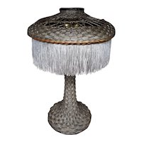 Vintage Tall Wicker Lamp Circa 1920's