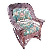 Antique Natural Wicker Rocking Chair Circa 1910 Rocker