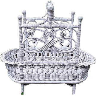 Antique Wicker Wood Basket Circa 1890's Victorian