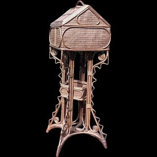 Rare Antique Wicker Sewing Table Circa 1880's Victorian