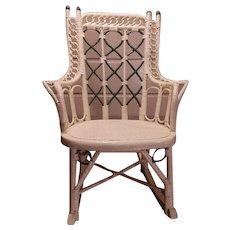 Antique Wicker Child's Rocking Chair Circa 1880's Victorian Rocker