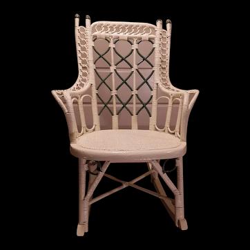 Child's Antique Wicker Rocking Chair Circa 1880's Victorian Rocker