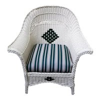 Antique Art Deco Wicker Arm Chair Circa 1920