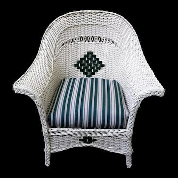 Antique Wicker Arm Chair Circa 1920 Art Deco