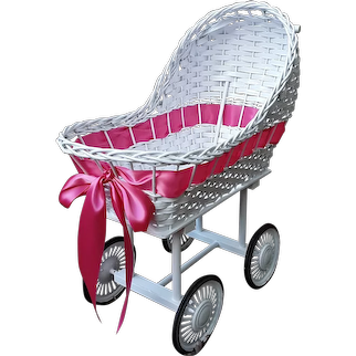 Vintage Wicker Doll Carriage Circa 1950's