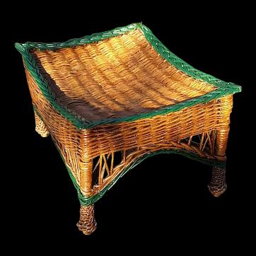 Antique Wicker Footstool Circa 1920 Bar Harbor Foot Stool Ottoman