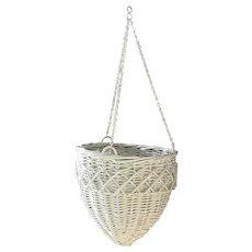 Wicker Flower Basket Antique Hanging Plant Basket Circa 1920