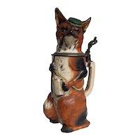 Antique Beer Stein German Fox Character  Circa 1800's