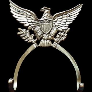 Vintage Patriotic American Eagle Hanging Rack Circa 1960's Brass