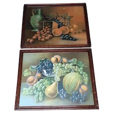 Antique Fruits Still Life Circa 1900 Pair of Lithographs