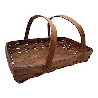 Antique Splint Oak Gathering Basket Circa 1910