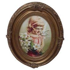 Antique Art Nouveau Picture Frame with Vintage Print