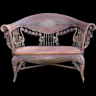Antique Wicker Settee Rare Natural Victorian Circa 1890's