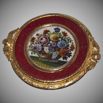 Georgian flower's basket micromosaic brooch/pendant
