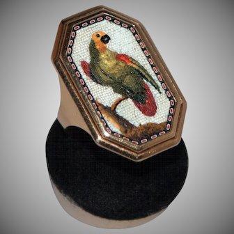 Georgian parrot micromosaic ring