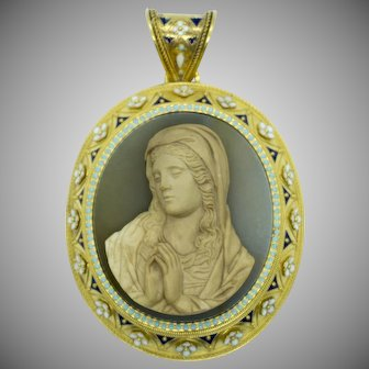 Victorian gold and multi-color enamel pendant with agate cameo representing The Virgin Mary