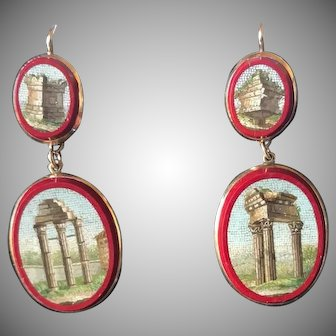 Georgian 1820's micromosaic and gold earrings