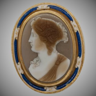 Neoclassic hardstone cameo with gold and enamel mounting