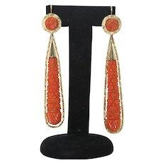 Rare Georgian mediterranean coral and gold long drop earrings