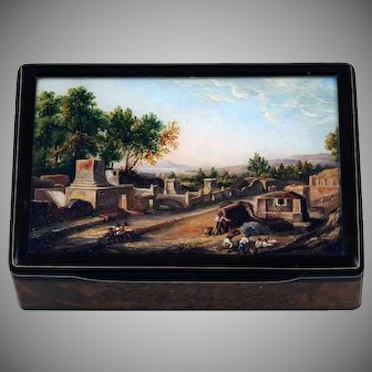 Box with a miniature of the Streets of Tombs in Pompeii
