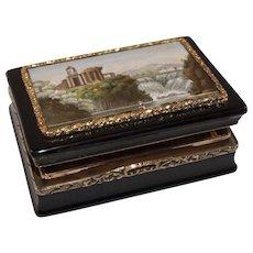 Tivoli micromosaic and hidden lacherous miniature, gold and faux tortoiseshell snuff box