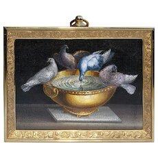 "Georgian ""Pliny's Doves"" micromosaic plaque"
