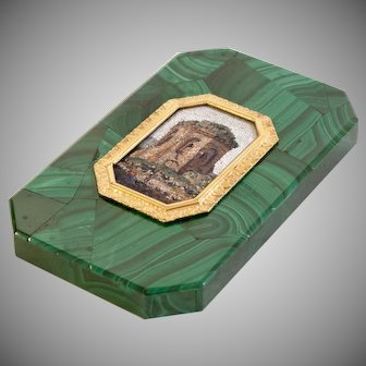 Georgian 1820's Russian malachite and micromosaic paperweight