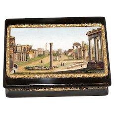 """The Roman Forum"" micromosaic, gold, and faux tortoiseshell Georgian snuff box"