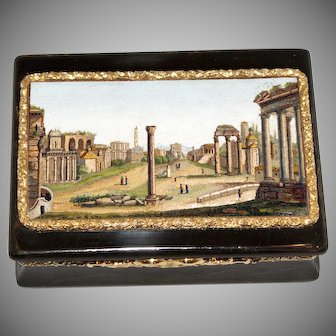 """The Roman Forum"" micromosaic, gold, and faux tortoiseshell Georgian snuff box"