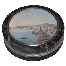 Marble and silver snuff-box with views of Naples mid 19th cent.