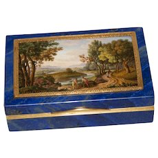 Museum quality micromosaic signed DEPOLETTI on lapis lazuli box